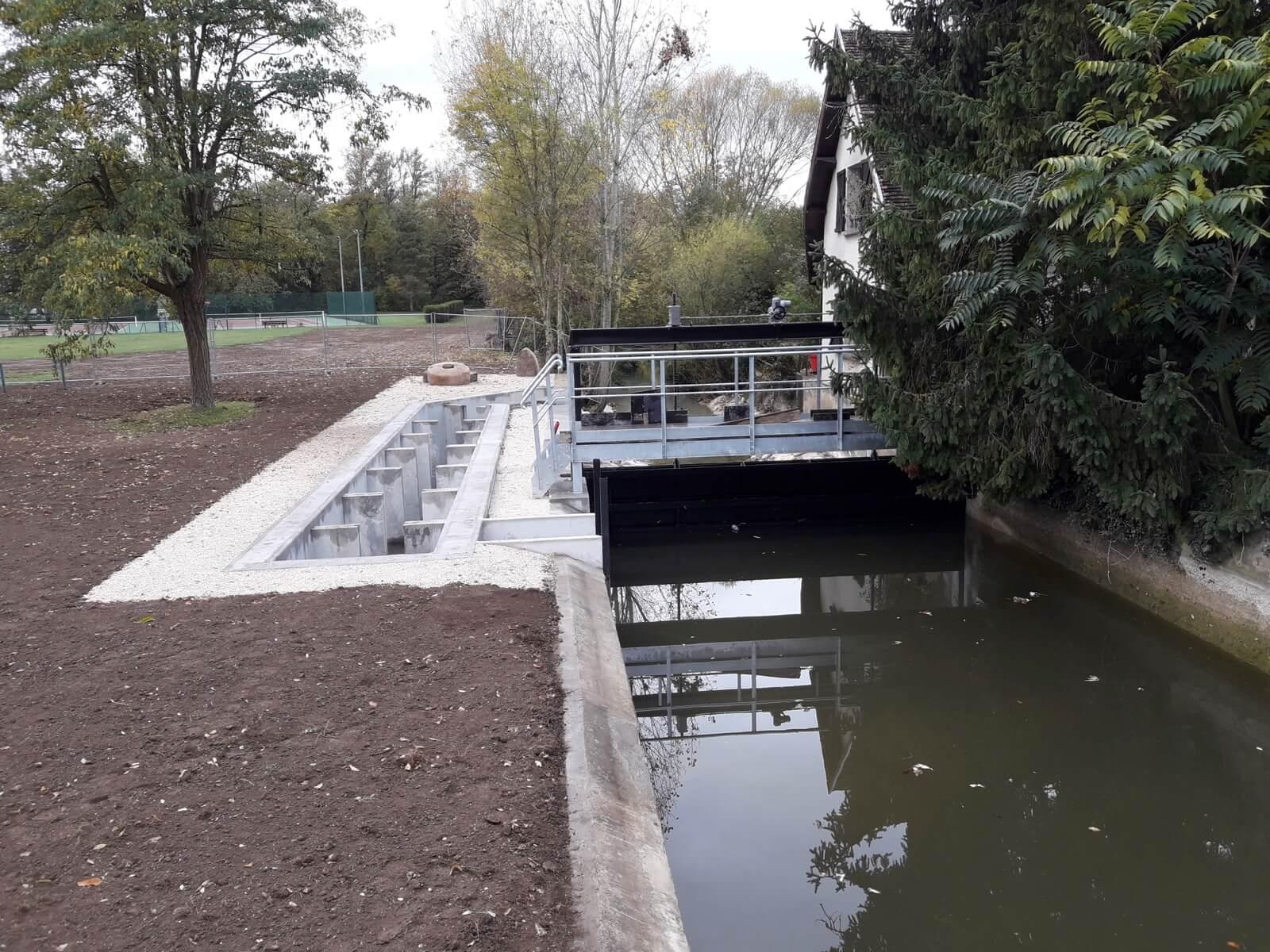 Création d'une passe à poissons en béton a Couternon (21)